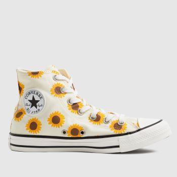 Converse White & Orange Sunflower Hi Womens Trainers