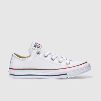 596ca24f446491 Converse White All Star Oxford Leather Womens Trainers