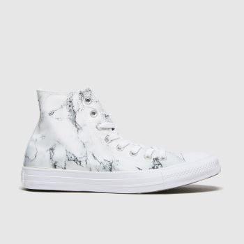 Converse White & Black Marble Hi Womens Trainers