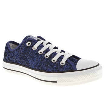 8906858dfb5c womens navy converse all star ox vi glitter trainers | schuh