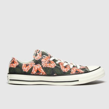 Converse Black & Orange All Star Sunblocked Ox Womens Trainers