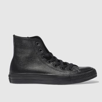 Converse Black Hi Leather Mono Womens Trainers