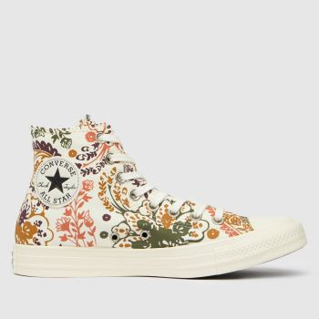 Converse Brown & White Floral Hi Womens Trainers