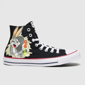 Converse Black & White Hi Bugs 80th Womens Trainers