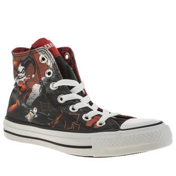 Womens Black Amp Red Converse All Star Harley Quinn Hi Trainers