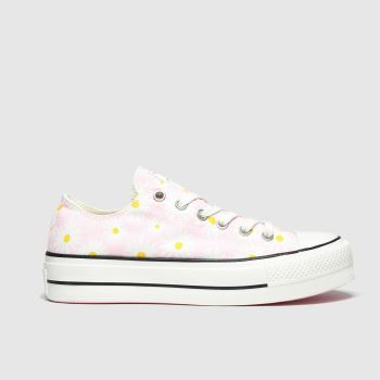 Converse Pale Pink All Star Camp Daisies Lift Ox Womens Trainers