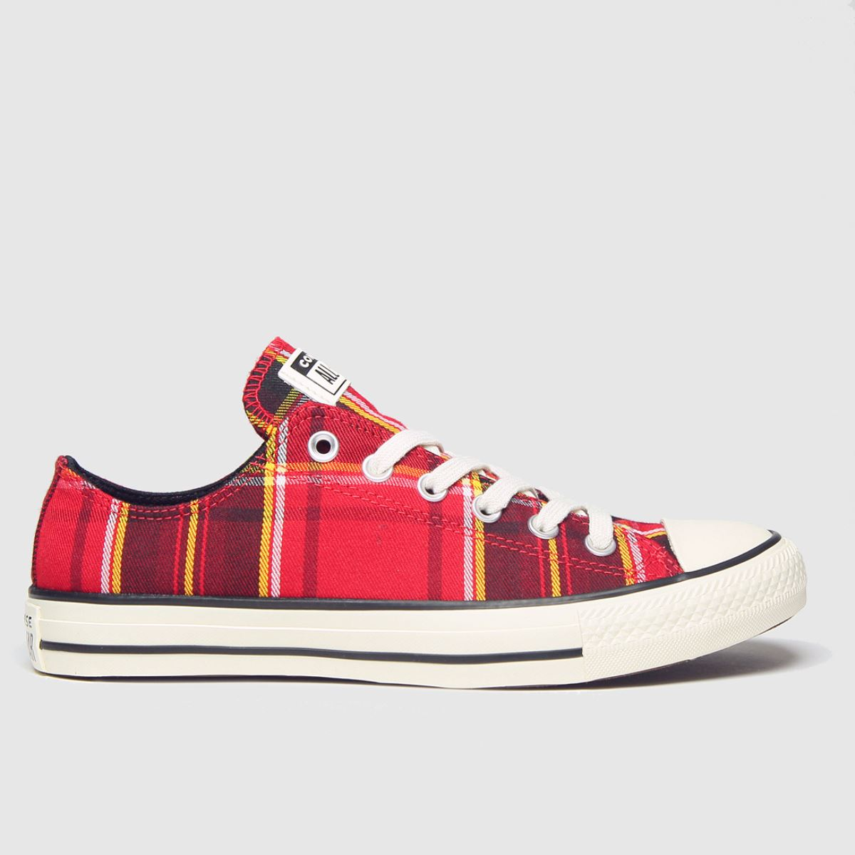Click to view product details and reviews for Converse Black Red Chuck Taylor All Star Ox Trainers.
