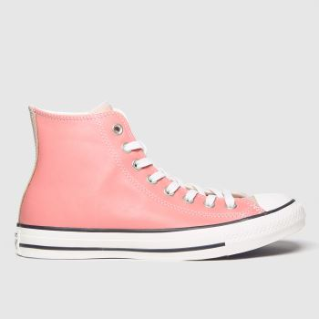 Converse White & Pink Chuck Taylor All Star Hi c2namevalue::Womens Trainers