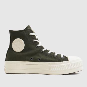 Converse Dunkelgrün Mix Recycled Lift Hi Damen Sneaker