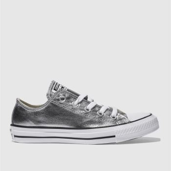 Converse Silver All Star Metallic Canvas Ox Womens Trainers