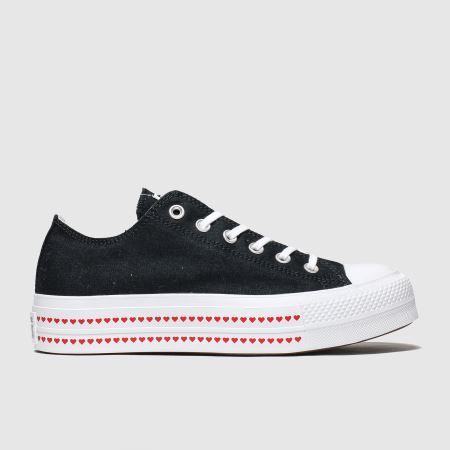 converse black & red lift love fearlessly trainers