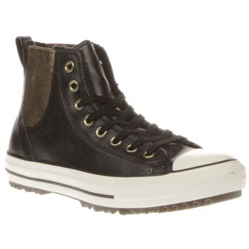 Womens Black Converse Chelsea Hi Leather Fur Trainers