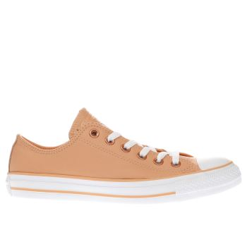CONVERSE PEACH ALL STAR LEATHER OX TRAINERS