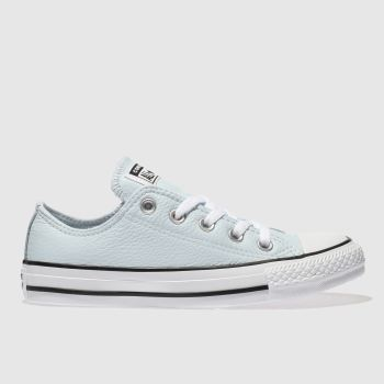 womens pale blue converse all star leather ox trainers  b88830479