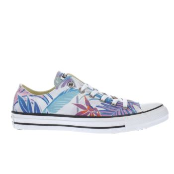CONVERSE WHITE & LILAC ALL STAR TROPICAL PRINT OX TRAINERS