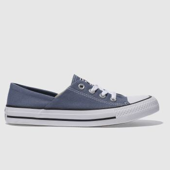 CONVERSE NAVY & WHITE CORAL CANVAS OX TRAINERS