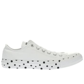 CONVERSE WHITE & BLACK CHUCK TAYLOR POLKA TAPE OX TRAINERS