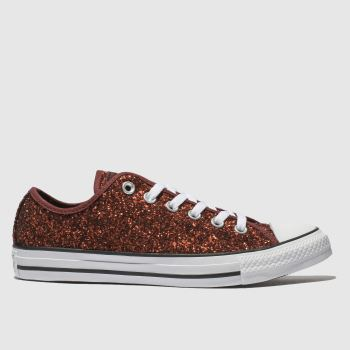 82122970f408 Converse Burgundy All Star Glitter Ox Womens Trainers