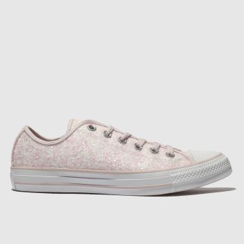 Converse Pink All Star Glitter Ox Womens Trainers 6afa93f3d
