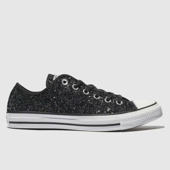 31593bcd74da Converse Black All Star Glitter Ox Womens Trainers