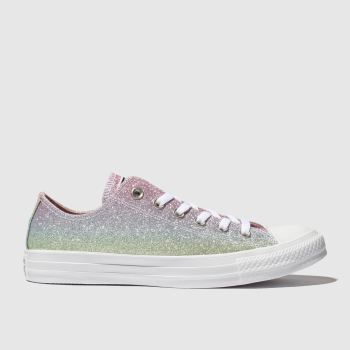 Converse Pink & Blue All Star Rainbow Glitter Ox Womens Trainers