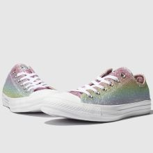 womens pink & blue converse all star rainbow glitter ox