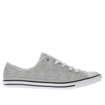 CONVERSE SILVER ALL STAR DAINTY OX TRAINERS