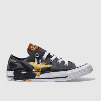 CONVERSE GREY & BLACK DAFFY DUCK X BUGS BUNNY OX TRAINERS