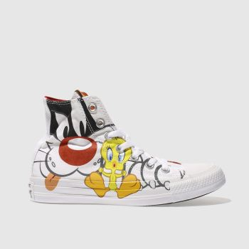 CONVERSE WHITE & BLACK SLYVESTER X TWEETY HI TRAINERS