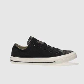 Converse Black All Star Suede Fur Ox Womens Trainers
