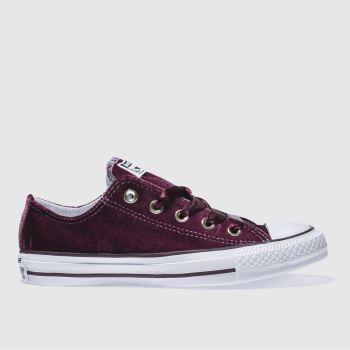 CONVERSE BURGUNDY ALL STAR VELVET OX TRAINERS