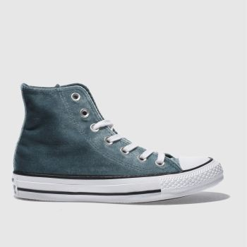 CONVERSE BLUE ALL STAR VELVET HI TRAINERS