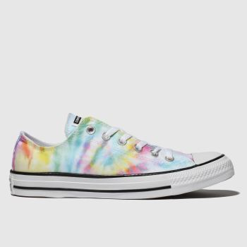 Converse White & Yellow All Star Tie Dye Ox Womens Trainers