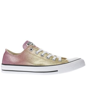 CONVERSE GOLD ALL STAR OMBRE GLITTER OX TRAINERS