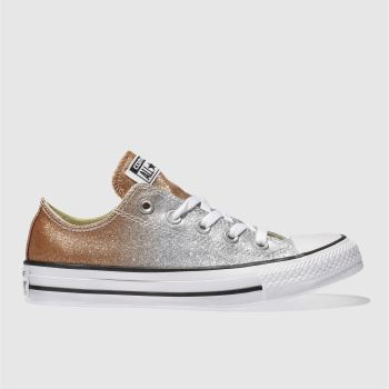 CONVERSE SILVER ALL STAR OMBRE GLITTER OX TRAINERS