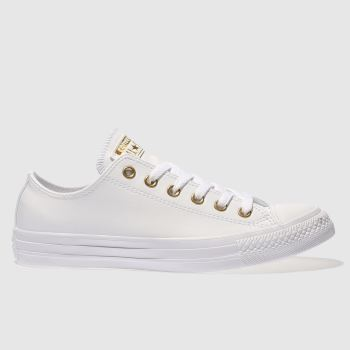 458109569818 Converse White   Gold Chuck Taylor All Star Craft Ox Womens Trainers