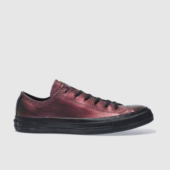 CONVERSE PINK & BLACK ALL STAR LEATHER OX TRAINERS