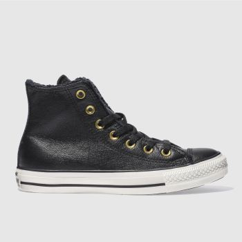 Converse Black Leather Faux Fur Lined Hi Womens Trainers