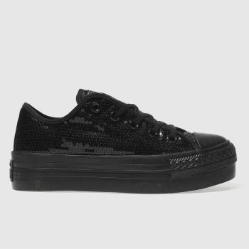 CONVERSE BLACK ALL STAR PLATFORM OX TRAINERS