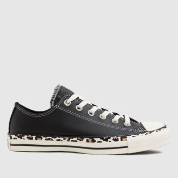 Converse Black Archive Edged Leopard Ox Womens Trainers