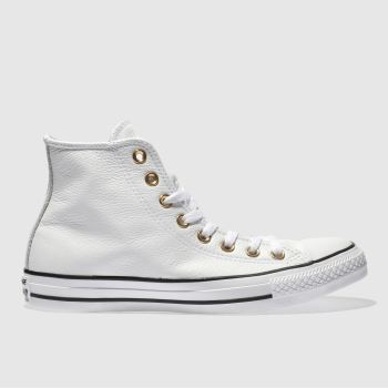 Converse White & Gold Rose Gold Eyelets Hi Womens Trainers