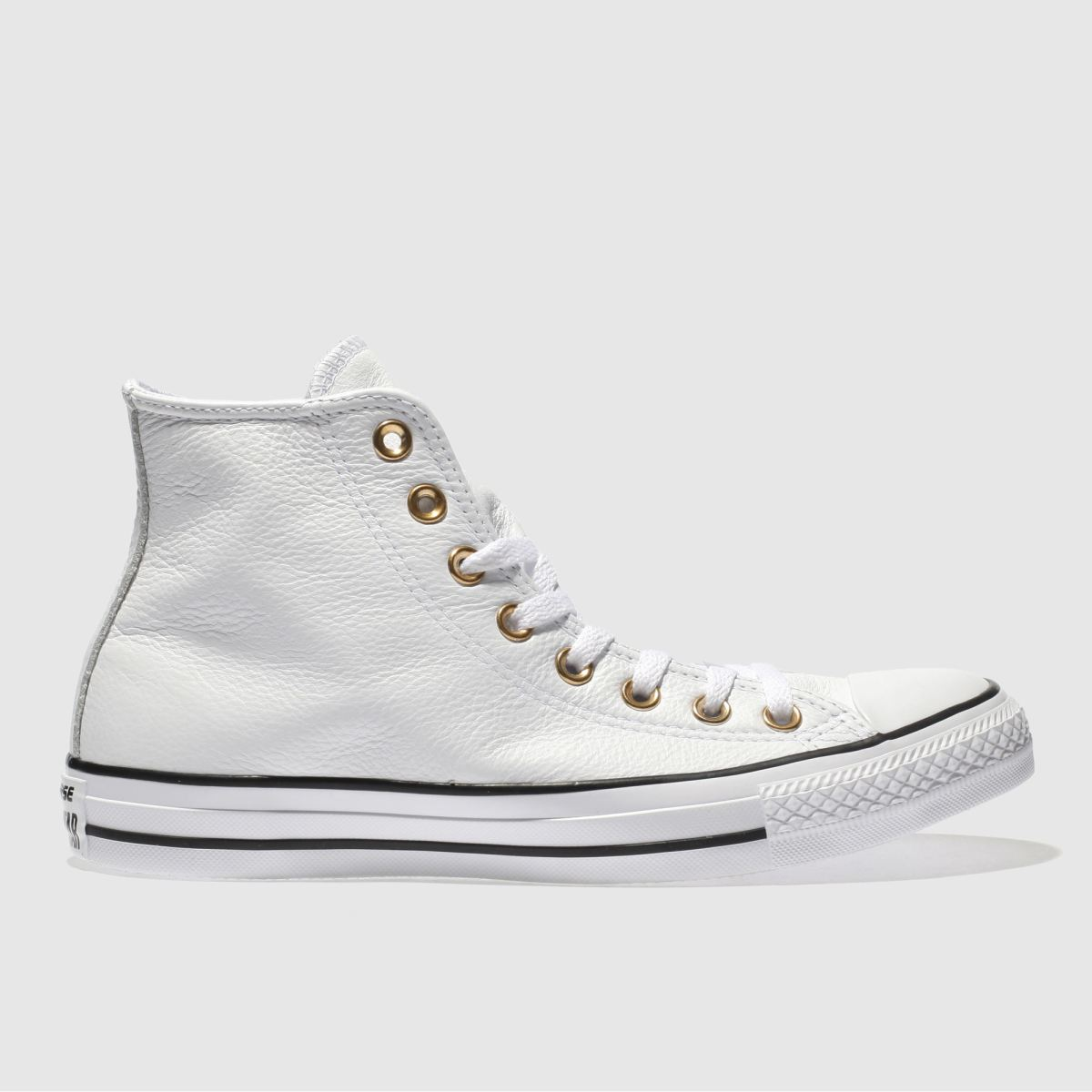 Converse White & Gold Rose Gold Eyelets Hi Trainers