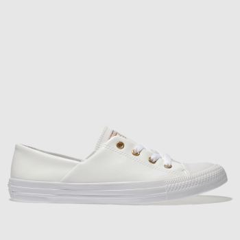 Converse White & Gold All Star Coral Craft Pu Ox c2namevalue::Womens Trainers