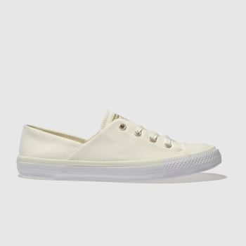 CONVERSE CREAM CORAL PEACHED CANVAS OX TRAINERS