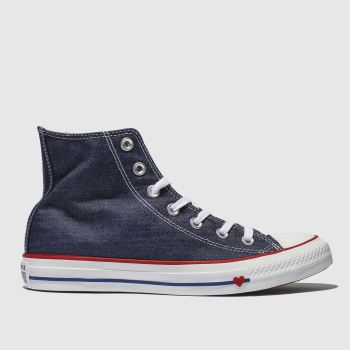 b56718fbab44de Converse Navy All Star Hi Love Works Womens Trainers