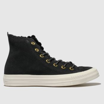 Converse Black All Star Hi Frilly Thrills Womens Trainers