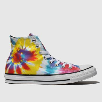 converse white & yellow all star tie dye hi trainers
