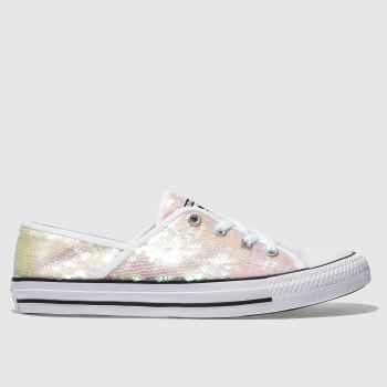 Converse White & Pink All Star Coral Ox Sequins Womens Trainers
