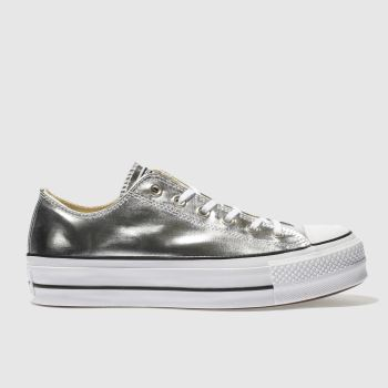 Converse Silver All Star Ox Lift Platform Womens Trainers
