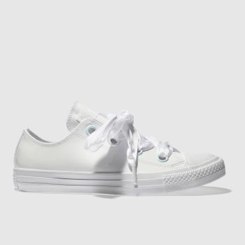 CONVERSE WHITE BIG EYELET PATENT OX TRAINERS